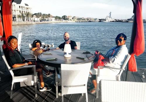 Family dinner in Bonaire at Karel's Beach