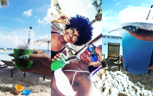 Photogallery: Madero Sunset drink at Mambo beach Curacao, my dear friend Candice and I, Blue Hawaiian from Madero Ocean Club Curacao