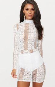 White Lace High Neck Dress €39,55