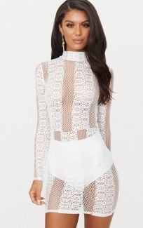 White Lace High Neck Dress €39,55