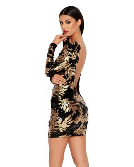 Black & Gold Sequined Cut Out Dress €33,90