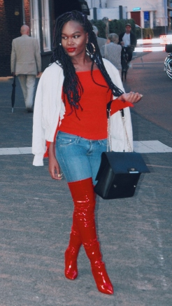 Wearing Missguided top and Public Desire thigh high boots