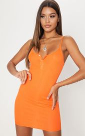 BRIGHT ORANGE BUTTON DETAIL RIBBED BODYCON DRESS by PLT €16.80