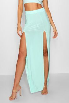 Double Split Slinky Maxi Skirt by Boohoo €19.00