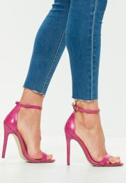 pink faux leather two strap barely there heels €18,00