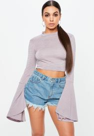 purple stripe flared sleeve crop top by MissGuided €14.00