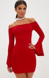RED FRILL SLEEVE BARDOT BODYCON DRESS by PLT €16.80