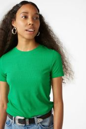 Ribbed tee by Monki €6