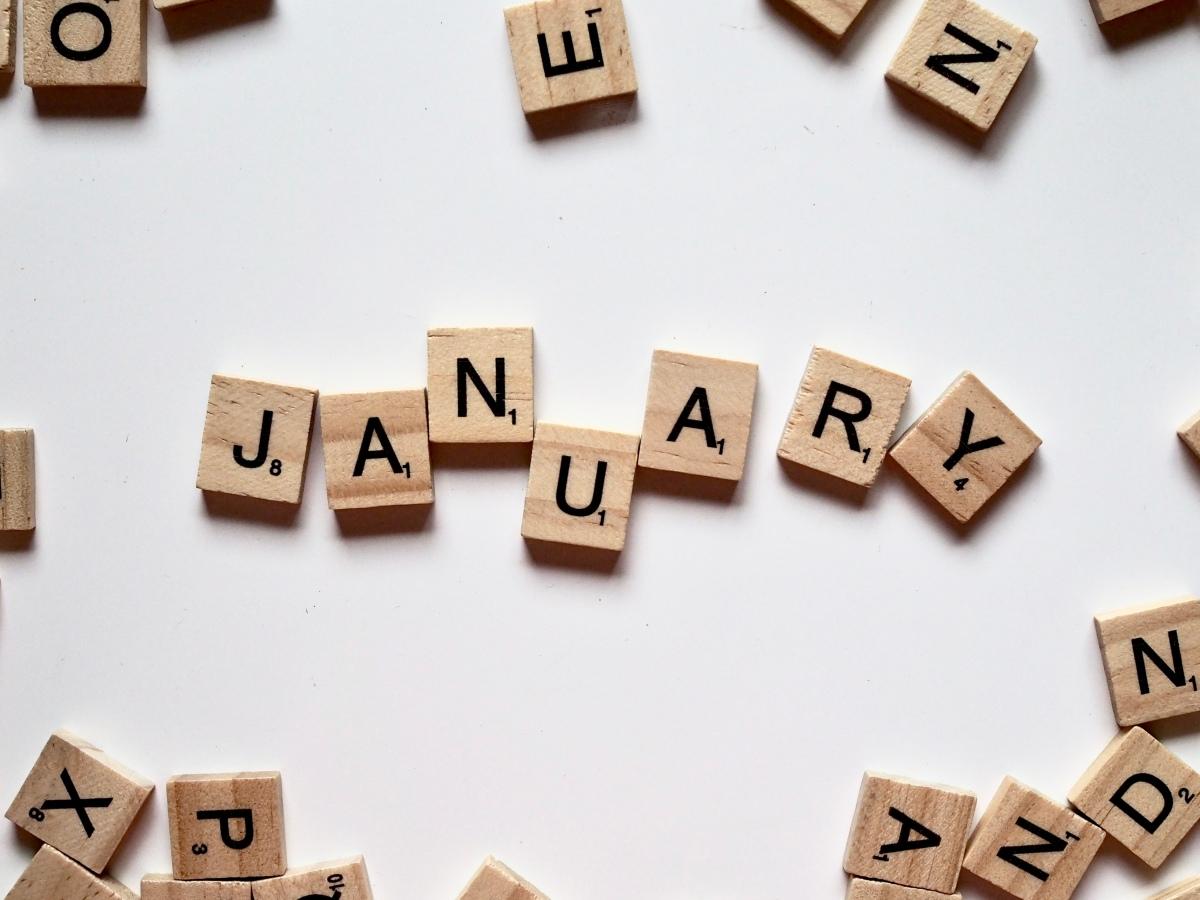January in lettered tiles