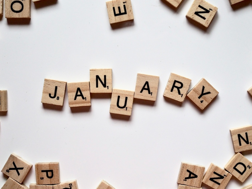 January in lettered tiles