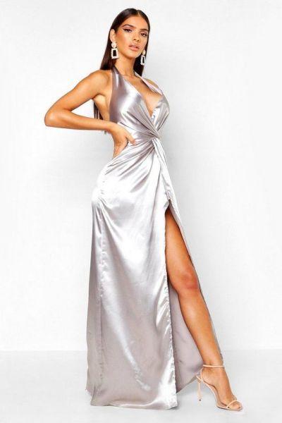 Brunette model in Silver Halterdress