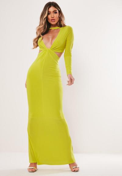 model in lime green maxi dress