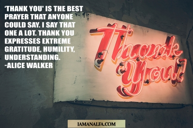 Inspirational quote by Alice Walker on saying thanks