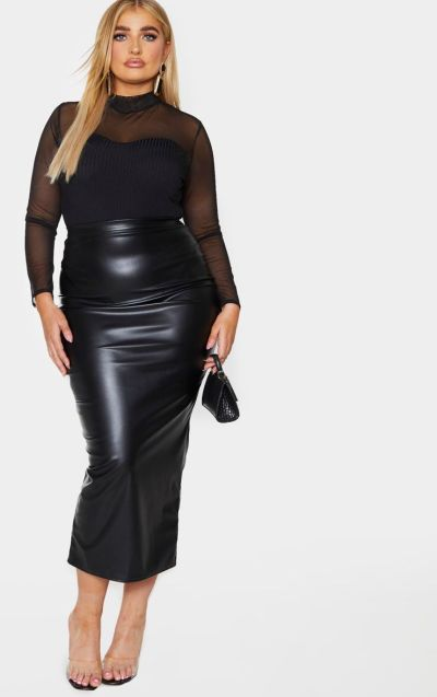 Black Leatherlook Maxi Skirt - Pretty Little Thing
