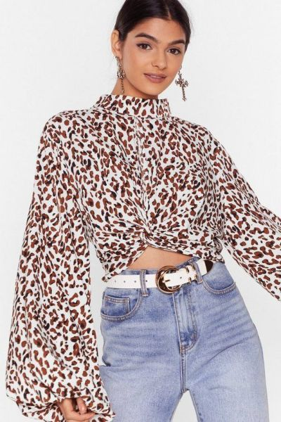 Leopard Balloon Sleeve Blouse - Nasty Gal