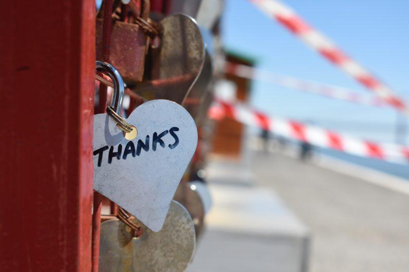 Lock on bridge with Thank You written on it